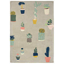 Grey Cactus Hand-Tufted Wool Rug