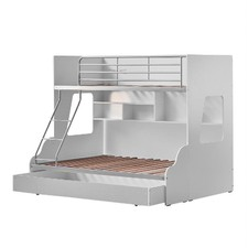 White & Silver Single Over Double Trio Bunk Bed with Shelves & Trundle
