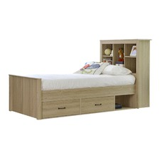 Jeppe Oak King Single Bed with Bookshelves & Drawers