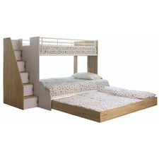 Sonoma Oak & White Levin Single Over Double Bunk Bed