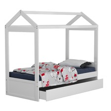 White Darcy Contemporary Single Bed with Trundle