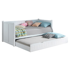 White Single Wooden Daybed with Trundle