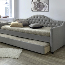 Grey York Single Day Bed Frame with Trundle