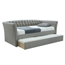 Light Grey Rene Single Sofa Bed with Trundle