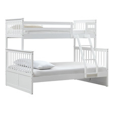 White Seattle Single Over Double Bunk Bed