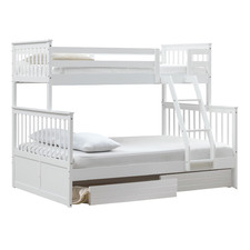 White Seattle Single Over Double Bunk Bed with 2 Drawers