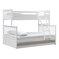 White Seattle Single Over Double Bunk Bed with Trundle