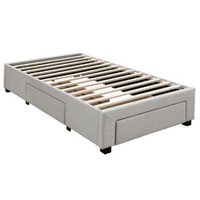 Oat White Astro King Single Bed Base Platform