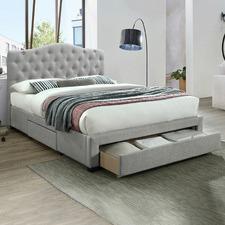 Grey Kiev Upholstered Bed & Mattress