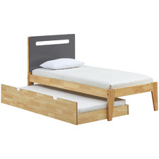 Natural & Charcoal Casla Bed Frame with Trundle