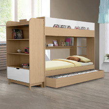 Galway Single Bunk Bed with Trundle & Bookcase