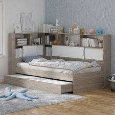 Quentin Storage Bed with Wall Bookcase