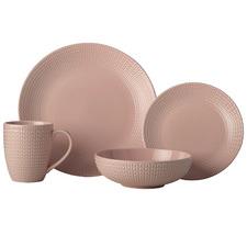 16 Piece Pink Corallo Porcelain Coupe Dinner Set