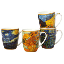 4 Piece Impressions Van Gogh 375ml Porcelain Mug Set