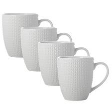 White Corallo 360ml Porcelain Mugs (Set of 4)