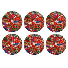 William Morris Strawberry Thief Red Ceramic Coasters (Set of 6)