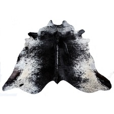 Dark Black Speckled Natural Cowhide Rug