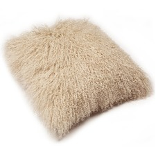 Oatmeal Mongolian Sheepskin Cushion