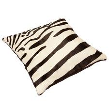 Zebra White Cow Hide Cushion