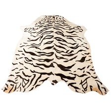 White Tiger Cow Hide Rug