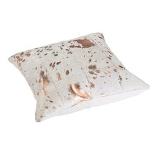 White & Bronze Cow Hide Cushion