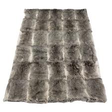 Grey Rabbit Fur Blanket