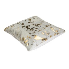 White & Gold Cow Hide Cushion