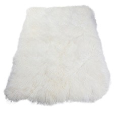Ivory Mongolian Sheepskin Throw