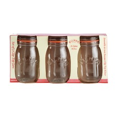 Set of 3 Clip Top Jars 1L