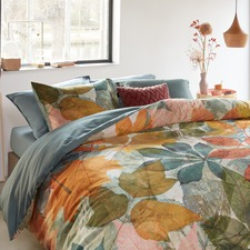 Multi-Coloured Leafage Cotton Sateen Quilt Cover Set
