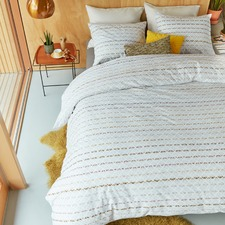 Yellow Woven Lines Cotton Quilt Cover Set