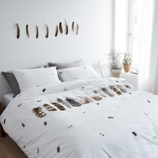 White Wild Feathers Cotton Quilt Cover Set
