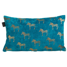 Blue Zebra Velvet Cushion