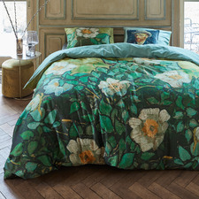 Green Wild Roses Van Gogh Cotton Sateen Quilt Cover Set