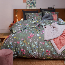 Grey Painted Garden Cotton Quilt Cover Set