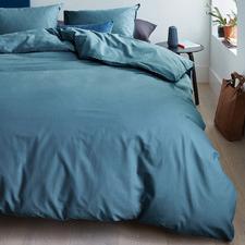 Blue & Grey Basic Organic Cotton Quilt Cover Set