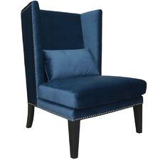 Navy Blue Oulu Velvet Lounge Chair