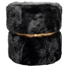 Kornelia Round Faux Fur Ottoman
