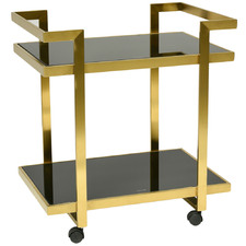 Gold Billie Metal & Tempered Glass Bar Cart
