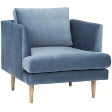Dust Blue Bodo Velvet Armchair