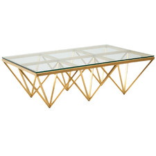 Brushed Gold Lorenza Glass-Top Coffee Table
