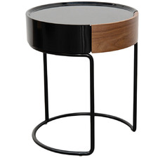 Black Giselle Side Table with Drawer