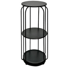 Black Serafina 3 Tier Side Table