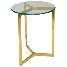 Brushed Gold Santino Glass-Top Side Table
