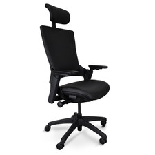 Black Muller Ergonomic Faux Leather Office Chair with Headrest