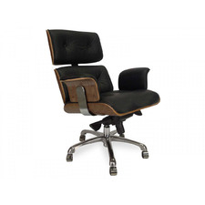 Black Eames Replica Italian Leather Executive Office Chair