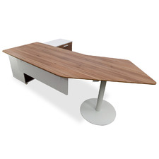 Dark Timber Elite Executive Office Desk with Right Return