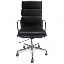 Black Eames Replica Soft Pad Italian Leather Executive Office Chair