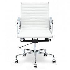 White Hochmair Mid-Back Italian Leather Office Chair