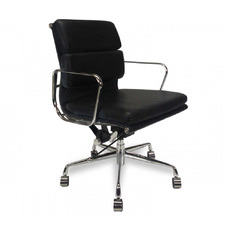Eames Replica Mid-Back Italian Leather Boardroom Office Chair